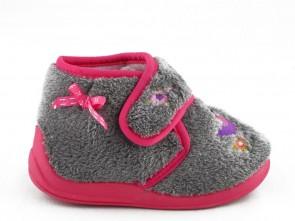 Babypantoffel Grijs Vogel Velcro