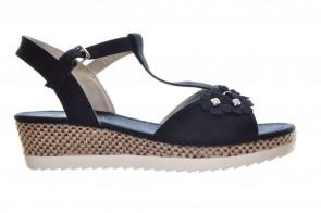 Blauwe Sandalen Koorden Sleehak