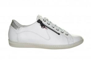 Mobils Witte Lederen Sneaker Met Veter En Rits