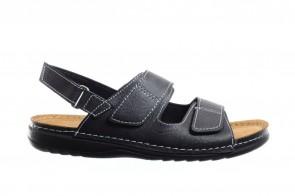 Zwarte Herensandaal Met 3 Velcro's
